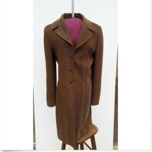 Vintage Dress Coat Gold and Brown Stripe - 8